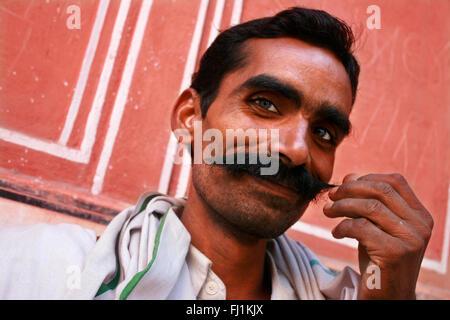 Rajasthani man with moustache , Jaipur, India - Stock Photo