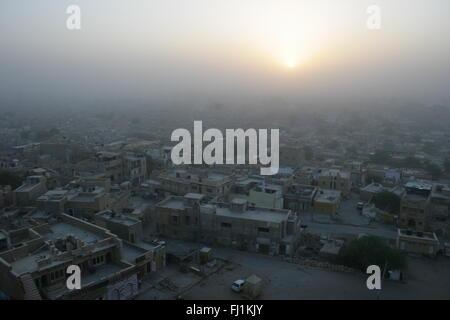 Sunrise on Jaisalmer city , Rajasthan, India - Stock Photo