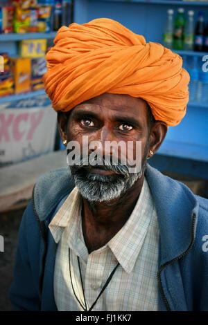 Rajasthani man with turban and moustache in Jaisalmer , India - Stock Photo