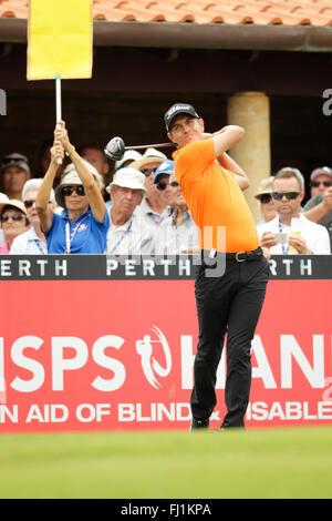 Perth, Australia. 28th Feb, 2016. ISPS HANDA Perth International Golf. Jason Scrivener (AUS) tees off for his final - Stock Photo