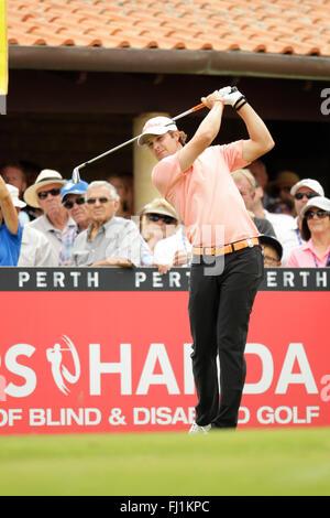 Perth, Australia. 28th Feb, 2016. ISPS HANDA Perth International Golf. Peter Uihlein (USA) tees off for his final - Stock Photo