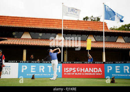 Perth, Australia. 28th Feb, 2016. ISPS HANDA Perth International Golf. Jeunhung Wang (KOR) tees off for his final - Stock Photo