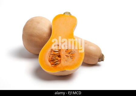 One and a half butternut pumpkin on white background - Stock Photo