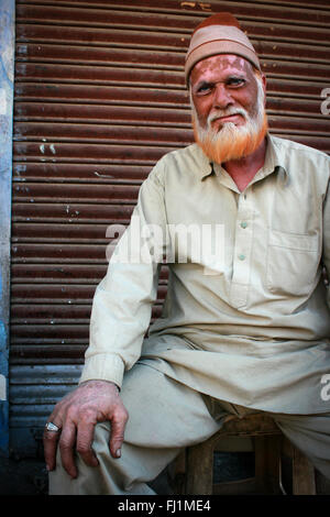 Muslim man with traditional dress code in Bikaner , India - Stock Photo