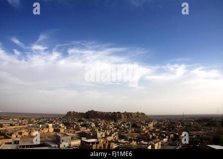 Panoramic view on Jaisalmer fort and Jaisalmer old city , Rajasthan , India - Stock Photo