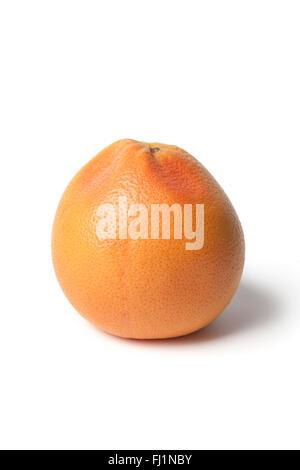 One whole single fresh ripe grapefruit on white background - Stock Photo