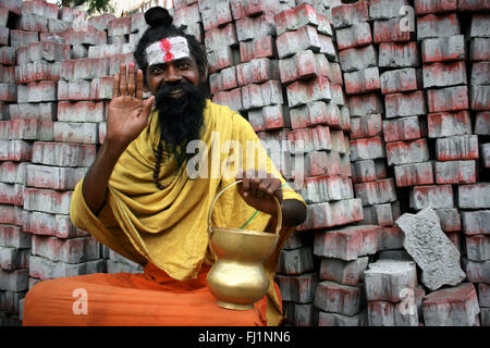 Sadhu - Hindu holy man near Sri Meenakshi Temple , Madurai , India - Stock Photo
