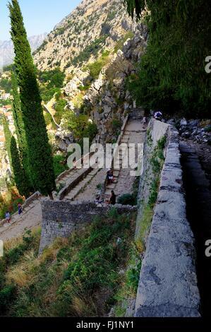 Path down to the village of Kotor, Montenegro - Stock Photo