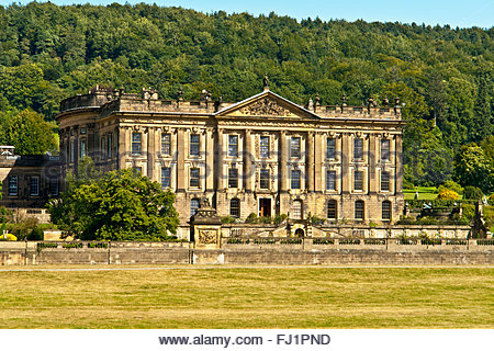 The front of Chatsworth House, near the town of Bakewell in the Derbyshire Peak District, England, UK - Stock Photo