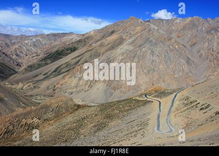Amazing landscape on the Leh - Manali road , Ladakh , India - Stock Photo