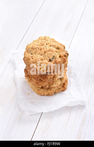 Oats cookies on white background - Stock Photo