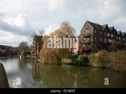 Images around Norwich's River Wensum near the Quay Side showing local buildings and landmarks - Stock Photo