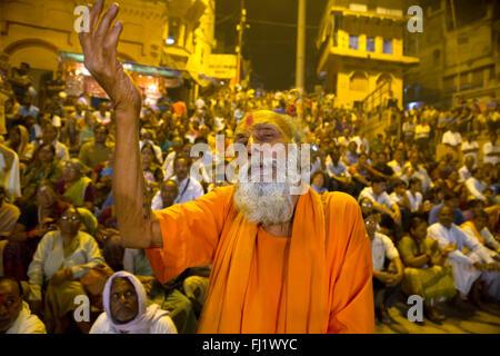 Crowd during Shivaratri in Varanasi, India - Stock Photo