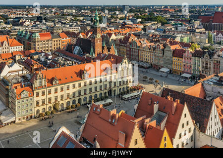 View from the tower of the St. Elizabeth Church to the Rynek marketplace, Wroclaw, Poland, Europe - Stock Photo