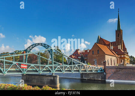 Cathedral Bridge. On the Cathedral Island is the Cross Church, Wroclaw, Lower Silesia Voivodeship, Poland, Europe - Stock Photo