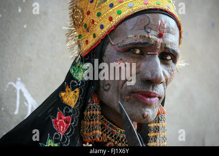 Portrait of Indian Rajasthan Rajasthani hindu man dressed as a god with make up ,  India - Stock Photo