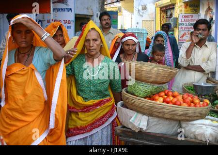 Crowd in Pushkar during Pushkar mela camel fair , Rajasthan, India - Stock Photo