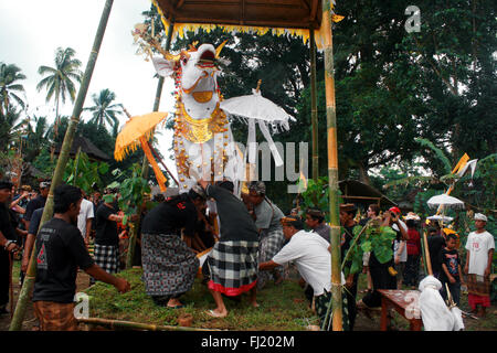 Cremation ceremony , Ngaben , Pitra Yadyna , Pelebon in Bali , Indonesia - Stock Photo