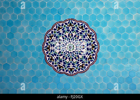 Blue tiles - details on architecture in Masjed Jame, Yazd , Iran Persia - Stock Photo