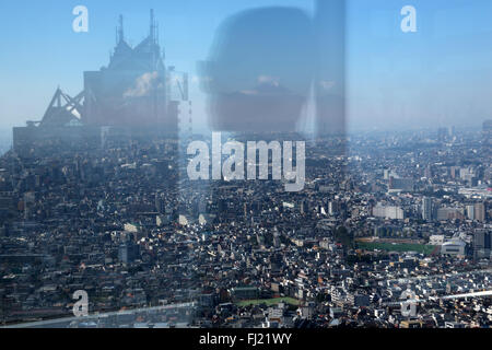 View of Tokyo and Mount Fuji from the observation deck of the Tokyo Metropolitan Government Building - Stock Photo