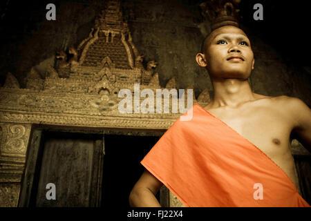 Portrait of bddhist monk in Luang Prabang , Laos, Asia - Stock Photo