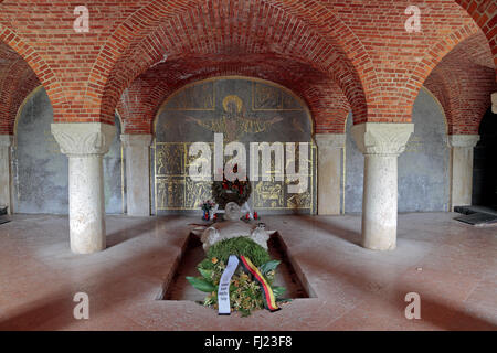 The shrine inside the crypt in the Lommel German war cemetery, Lommel, Belgium. - Stock Photo