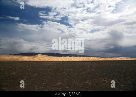 Gobi sand dunes in Mongolia - Stock Photo