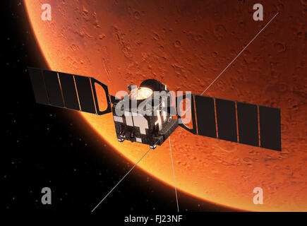 Interplanetary Space Station Orbiting Planet Mars - Stock Photo