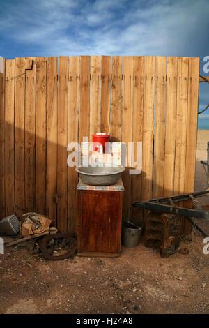 Washbasin in nomads camp in Gobi desert, Mongolia - Stock Photo