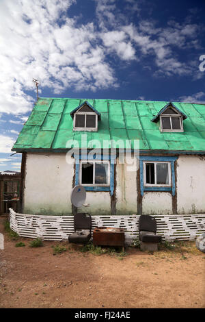 Traditional old and poor house in Mongolia - Stock Photo