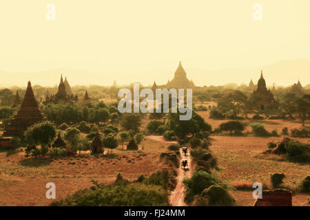 Panoramic view on Old bagan by sunset -  Myanmar - Stock Photo