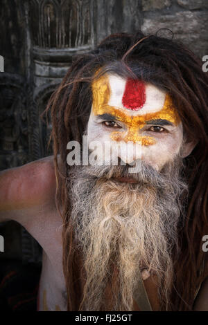 Nepalese sadhu in Pashupatinath, Nepal - Stock Photo