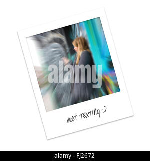 Polaroid Photo of a Girl Texting against a Graffiti Wall - Stock Photo