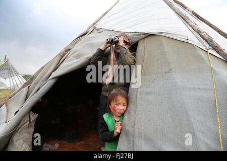 Tsaatan Dukha people , nomadic reindeer herders , Mongolia - Stock Photo