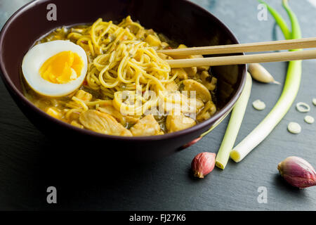 Ramen noodles chicken with eggs and ingredients - Stock Photo