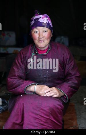 Woman, Tsaatan Dukha people , nomadic reindeer herders , Mongolia - Stock Photo