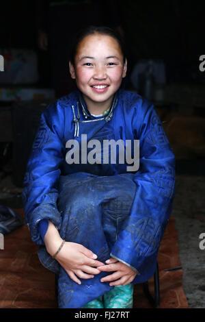 Young girl, Tsaatan Dukha people , nomadic reindeer herders , Mongolia - Stock Photo