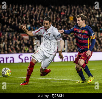 Barcelona, Catalonia, Spain. 28th Feb, 2016. FC Barcelona forward MESSI competes for the ball during the BBVA league - Stock Photo