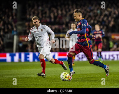Barcelona, Catalonia, Spain. 28th Feb, 2016. FC Barcelona forward NEYMAR JR. competes for the ball during the BBVA - Stock Photo