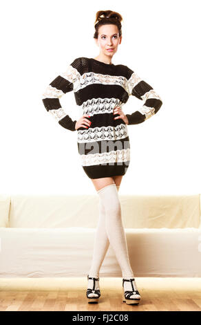 Fashion young woman in full length. Girl in fashionable striped dress high heels posing - Stock Photo