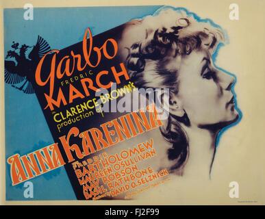 'Anna Karenina' (MGM, 1935), title lobby card. Starring: Greta Garbo, Fredric March, Freddie Bartholomew, Maureen - Stock Photo