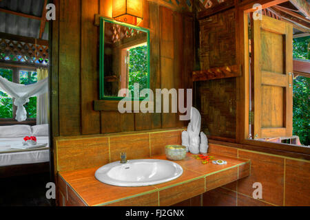ATREE HOUSE interior at OUR JUNGLE HOUSE a lodge in the rainforest near KHAO SOK NATIONAL PARK - SURATHANI PROVENCE, - Stock Photo