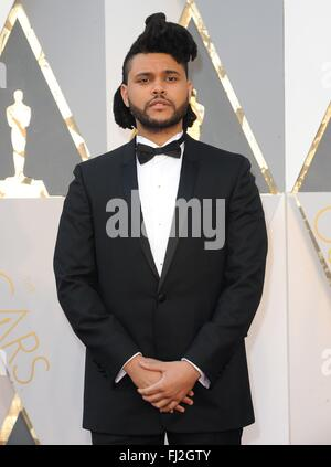 Los Angeles, CA, USA. 28th Feb, 2016. The Weeknd at arrivals for The 88th Academy Awards Oscars 2016 - Arrivals - Stock Photo
