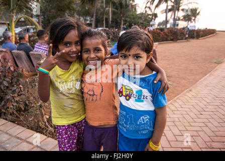 Children in Bandstand Promenade, Bandra West, Mumbai - Stock Photo