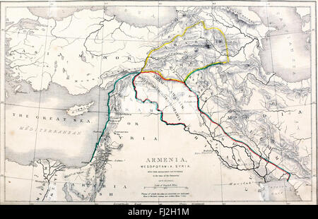 Map of Armenia, Mesopotamia, Syria and the Adjacent Countries in the time of the Patriarchs - Stock Photo