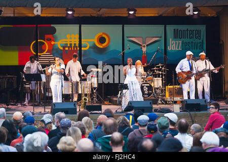 DANDA DA HORA sings with SAMBADA on the Garden Stage of the MONTEREY JAZZ FESTIVAL - Stock Photo