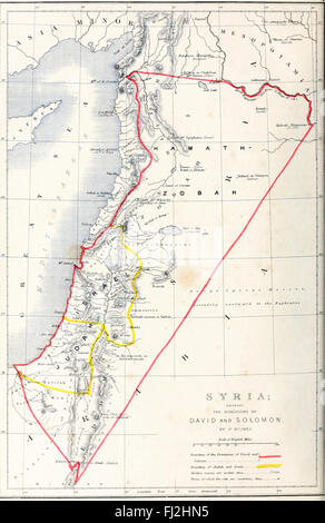 Map of Syria showing the Dominions of David and Solomon - Stock Photo