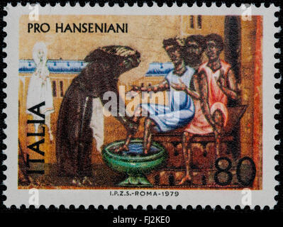 1979 - Italian mint stamp issued to celebrate the Hansenians. Lire 80 - Stock Photo