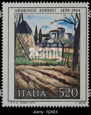 1979 - Italian mint stamp issued to commemorate Ardengo Soffici Lire 520 - Stock Photo