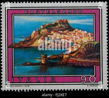1979 - Italian mint stamp issued to commemorate Castelsardo Lire 90 - Stock Photo